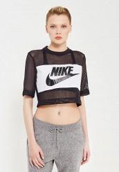 Купить Футболка W NSW TOP CROP MESH Nike черный NI464EWRZB48
