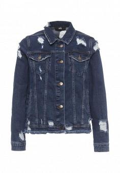 Куртка джинсовая, adL, цвет: синий. Артикул: AD005EWQDK34. Женская одежда / Тренды сезона / Летний деним / Джинсовые куртки
