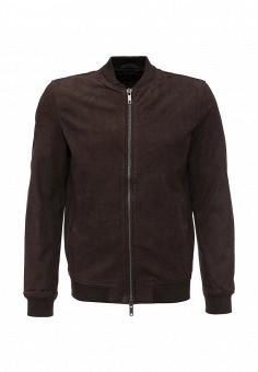 Куртка кожаная, ADPT, цвет: коричневый. Артикул: AD017EMKIL63. Мужская одежда / Верхняя одежда / Кожаные куртки