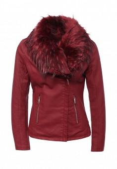 Куртка кожаная, Adrixx, цвет: бордовый. Артикул: AD021EWLVQ43. Женская одежда / Верхняя одежда / Косухи
