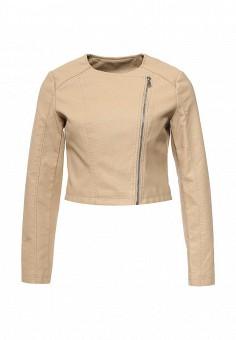 Куртка кожаная, Adrixx, цвет: бежевый. Артикул: AD021EWRCA36. Женская одежда / Верхняя одежда / Кожаные куртки