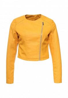 Куртка кожаная, Adrixx, цвет: желтый. Артикул: AD021EWRCA37. Женская одежда / Верхняя одежда / Косухи