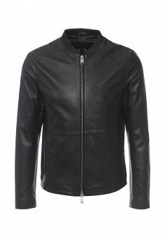 Куртка кожаная, Armani Exchange, цвет: черный. Артикул: AR037EMPWU12. Мужская одежда / Верхняя одежда / Кожаные куртки