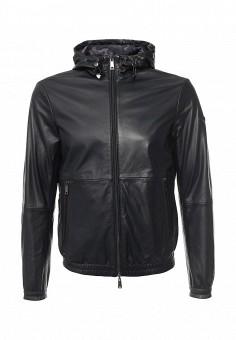 Куртка кожаная, Armani Jeans, цвет: серый, черный. Артикул: AR411EMOVS30. Мужская одежда / Верхняя одежда / Кожаные куртки