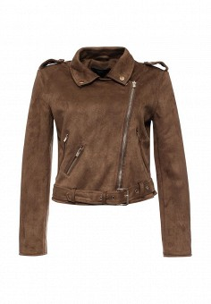 Куртка кожаная, Befree, цвет: коричневый. Артикул: BE031EWPKC62. Женская одежда / Верхняя одежда / Кожаные куртки