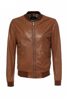Куртка кожаная, Blouson, цвет: коричневый. Артикул: BL033EMQGN43. Мужская одежда / Верхняя одежда / Кожаные куртки