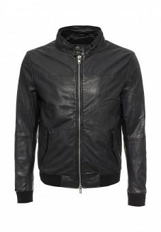 Куртка кожаная, Blouson, цвет: синий. Артикул: BL033EMQGN52. Мужская одежда / Верхняя одежда / Кожаные куртки