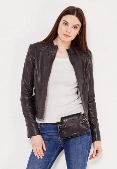 Куртка кожаная, Boss Orange, цвет: черный. Артикул: BO456EWSRW97. Женская одежда / Верхняя одежда / Кожаные куртки