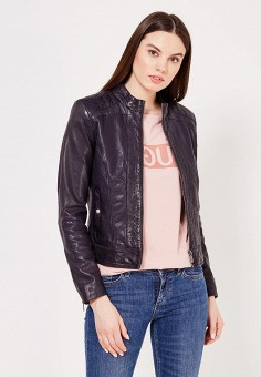 Куртка кожаная, Boss Orange, цвет: синий. Артикул: BO456EWSRW98. Женская одежда / Верхняя одежда / Кожаные куртки