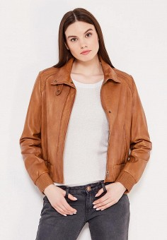 Куртка кожаная, Boss Orange, цвет: коричневый. Артикул: BO456EWSRW99. Женская одежда / Верхняя одежда / Кожаные куртки