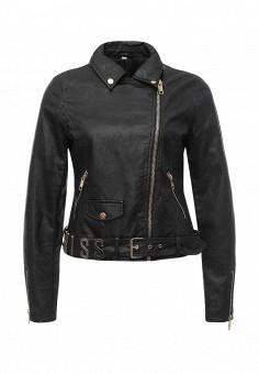 Куртка кожаная, B.Style, цвет: черный. Артикул: BS002EWQOA85. Женская одежда / Верхняя одежда / Косухи