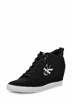 Кеды на танкетке, Calvin Klein Jeans, цвет: черный. Артикул: CA939AWLLH34. Женская обувь / Кроссовки и кеды