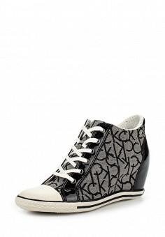 Кеды на танкетке, Calvin Klein Jeans, цвет: серый. Артикул: CA939AWSJU45. Женская обувь / Кроссовки и кеды