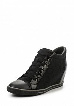 Кеды на танкетке, Calvin Klein Jeans, цвет: черный. Артикул: CA939AWSJU46. Женская обувь / Кроссовки и кеды