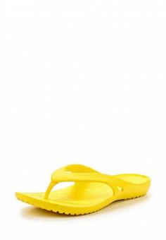 Сланцы, Crocs, цвет: желтый. Артикул: CR014AWREU37. Женская обувь / Шлепанцы и акваобувь