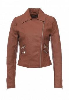 Куртка кожаная, Edge Street, цвет: коричневый. Артикул: ED008EWQCN50. Женская одежда / Верхняя одежда / Кожаные куртки