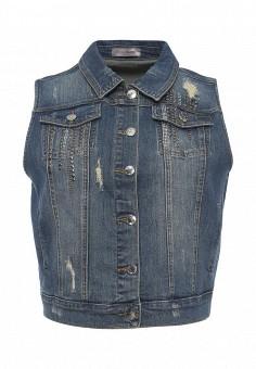 Жилет джинсовый, Fiorella Rubino, цвет: синий. Артикул: FI013EWRKV18. Женская одежда / Верхняя одежда / Жилеты