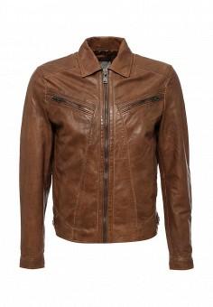 Куртка кожаная, Mango Man, цвет: коричневый. Артикул: HE002EMIXM85. Мужская одежда / Верхняя одежда / Кожаные куртки