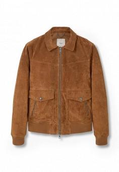Куртка кожаная, Mango Man, цвет: коричневый. Артикул: HE002EMKVZ77. Мужская одежда / Верхняя одежда / Кожаные куртки
