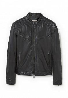 Куртка, Mango Man, цвет: черный. Артикул: HE002EMPJY59. Мужская одежда / Верхняя одежда / Кожаные куртки