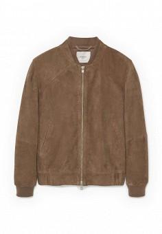 Куртка кожаная, Mango Man, цвет: коричневый. Артикул: HE002EMPXG71. Мужская одежда / Верхняя одежда / Кожаные куртки