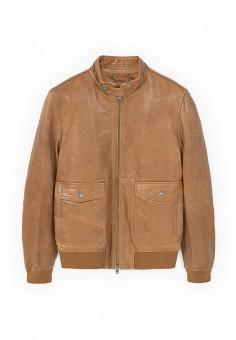 Куртка, Mango Man, цвет: коричневый. Артикул: HE002EMQTR40. Мужская одежда / Верхняя одежда / Кожаные куртки