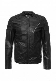 Куртка кожаная, Jack & Jones, цвет: черный. Артикул: JA391EMOPP51. Мужская одежда / Верхняя одежда / Кожаные куртки