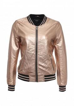 Куртка кожаная, Jennyfer, цвет: золотой. Артикул: JE008EWSFG80. Женская одежда / Верхняя одежда / Кожаные куртки