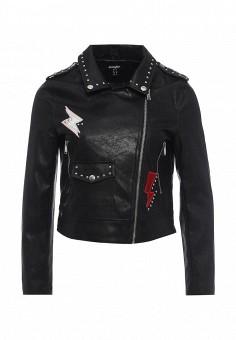 Куртка кожаная, Jennyfer, цвет: черный. Артикул: JE008EWSFG81. Женская одежда / Верхняя одежда / Косухи