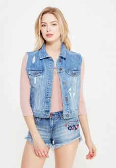 Жилет джинсовый, Jennyfer, цвет: синий. Артикул: JE008EWTRQ80. Женская одежда / Верхняя одежда / Жилеты