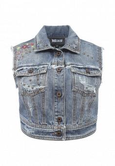Жилет джинсовый, Just Cavalli, цвет: синий. Артикул: JU662EWOOT82. Женская одежда / Верхняя одежда / Жилеты