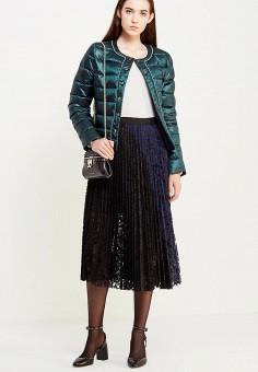 Пуховик, Liu Jo Jeans, цвет: зеленый. Артикул: LI003EWUDU44. Женская одежда / Верхняя одежда / Пуховики и зимние куртки