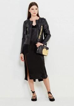 Куртка кожаная, Liu Jo Jeans, цвет: черный. Артикул: LI003EWUEA84. Женская одежда / Верхняя одежда / Кожаные куртки