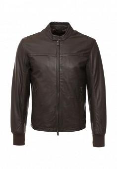 Куртка кожаная, Liu Jo Uomo, цвет: коричневый. Артикул: LI030EMJNR65. Мужская одежда / Верхняя одежда / Кожаные куртки