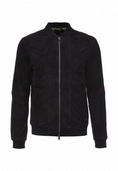 Куртка кожаная, Liu Jo Uomo, цвет: синий. Артикул: LI030EMJNR66. Мужская одежда / Верхняя одежда / Кожаные куртки