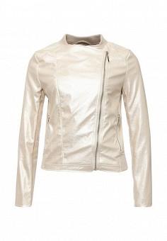 Куртка кожаная, Love Republic, цвет: золотой. Артикул: LO022EWSAW54. Женская одежда / Верхняя одежда / Кожаные куртки