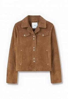 Куртка кожаная, Mango, цвет: коричневый. Артикул: MA002EWJDE60. Женская одежда / Верхняя одежда / Кожаные куртки