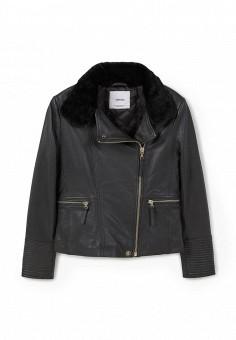 Куртка кожаная, Mango, цвет: черный. Артикул: MA002EWJMS48. Женская одежда / Верхняя одежда / Кожаные куртки