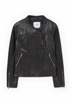 Куртка кожаная, Mango, цвет: черный. Артикул: MA002EWJPA66. Женская одежда / Верхняя одежда / Кожаные куртки