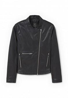 Куртка кожаная, Mango, цвет: черный. Артикул: MA002EWKYH93. Женская одежда / Верхняя одежда / Кожаные куртки