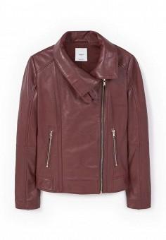 Куртка кожаная, Mango, цвет: бордовый. Артикул: MA002EWLKD82. Женская одежда / Верхняя одежда / Кожаные куртки