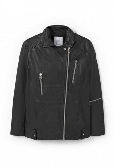 Куртка кожаная, Mango, цвет: черный. Артикул: MA002EWLKE95. Женская одежда / Верхняя одежда / Кожаные куртки