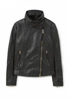 Куртка кожаная, Mango, цвет: черный. Артикул: MA002EWLKE96. Женская одежда / Верхняя одежда / Кожаные куртки