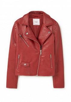 Куртка кожаная, Mango, цвет: красный. Артикул: MA002EWLNH89. Женская одежда / Верхняя одежда / Кожаные куртки