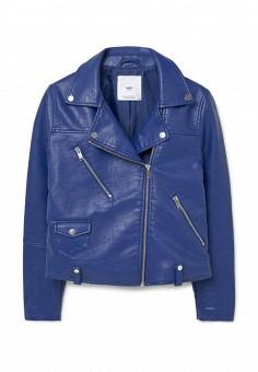Куртка кожаная, Mango, цвет: синий. Артикул: MA002EWLVD38. Женская одежда / Верхняя одежда / Кожаные куртки