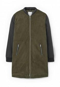 Куртка кожаная, Mango, цвет: хаки. Артикул: MA002EWMTU93. Женская одежда / Верхняя одежда / Кожаные куртки