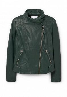Куртка кожаная, Mango, цвет: зеленый. Артикул: MA002EWOGJ44. Женская одежда / Верхняя одежда / Косухи