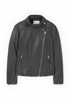 Куртка кожаная, Mango, цвет: черный. Артикул: MA002EWOMS82. Женская одежда / Верхняя одежда / Косухи