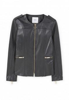 Куртка кожаная, Mango, цвет: черный. Артикул: MA002EWQBN98. Женская одежда / Верхняя одежда / Кожаные куртки