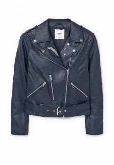Куртка кожаная, Mango, цвет: синий. Артикул: MA002EWQRC51. Женская одежда / Верхняя одежда / Кожаные куртки